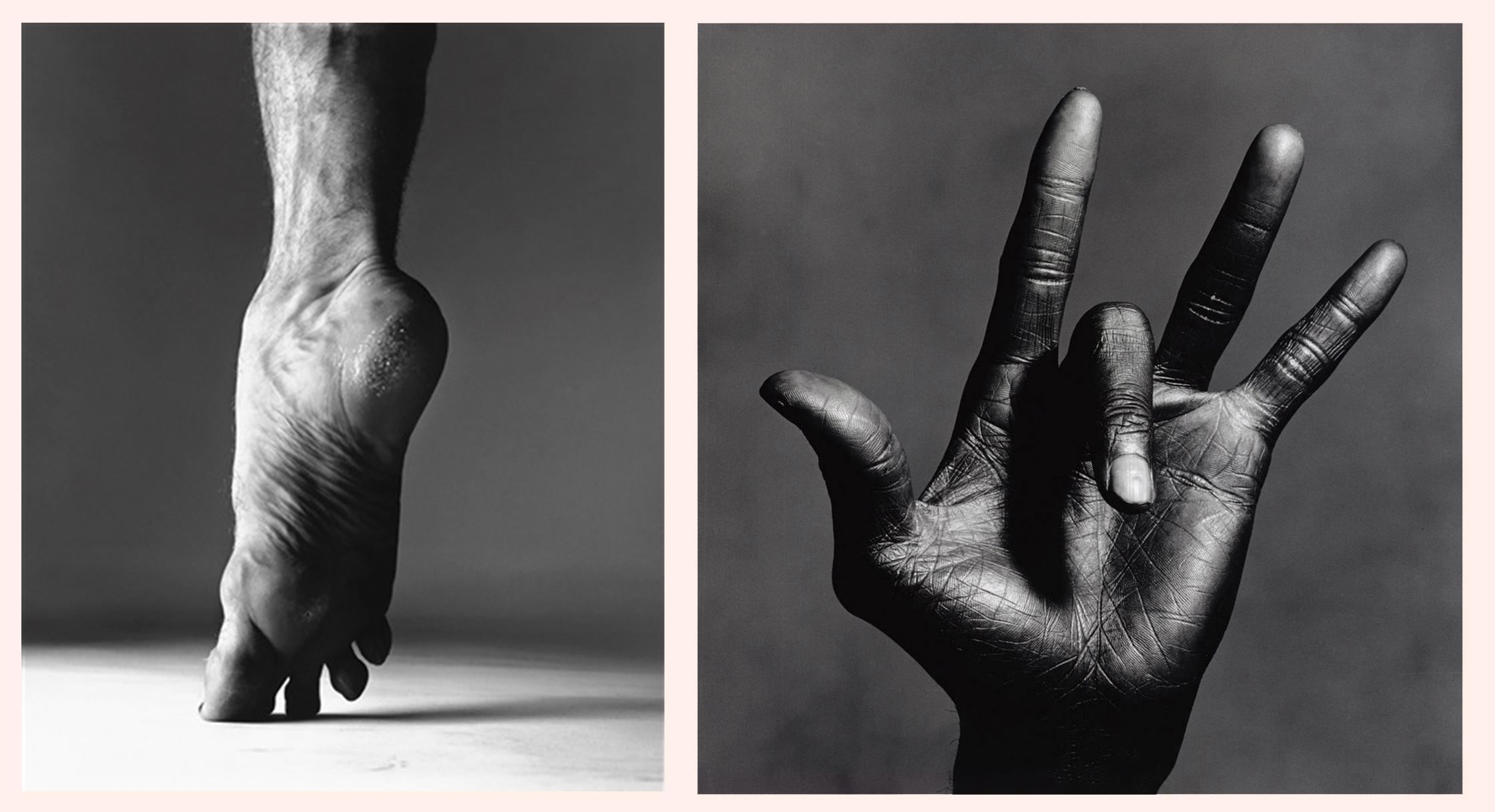 אירווינג פן, כף ידו של מיילס דייוויס, 1986 / ריצ׳ארד אבדון, כף רגלו של רודולף נוראייב, 1967