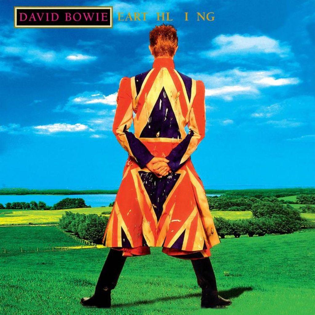 """Erthling"" album cover, 1997 (Union Jack frock coat made for him by British designer Alexander McQueen)"