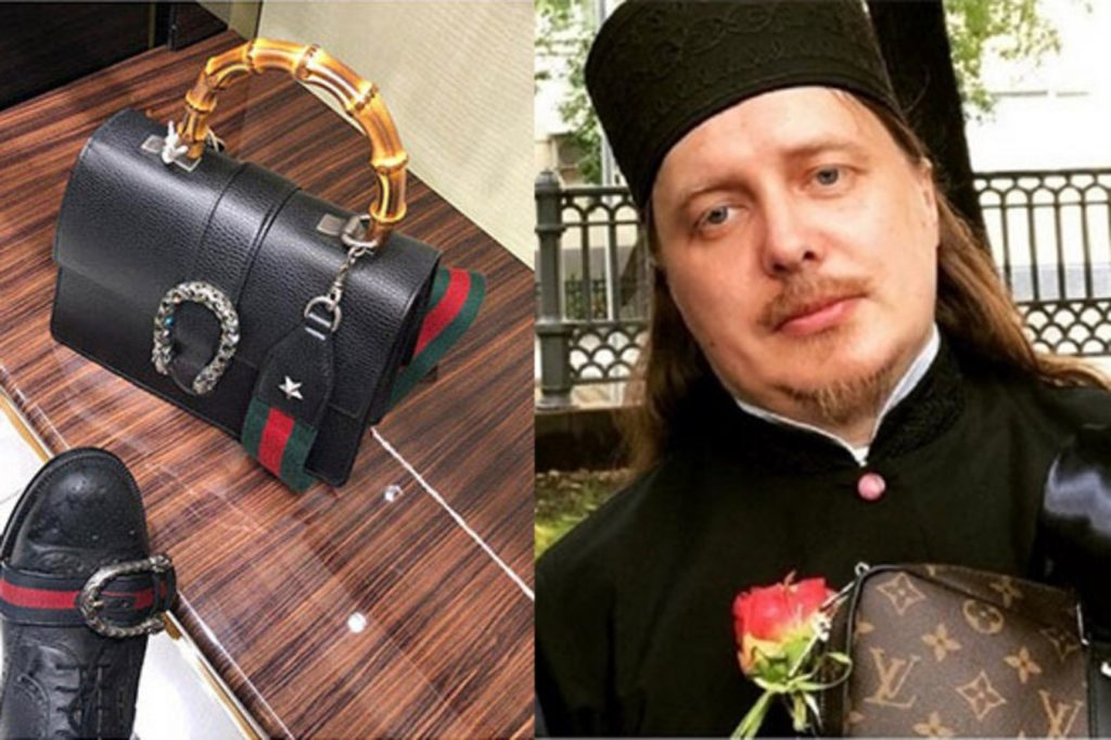 Vyacheslav Baskakov holding a Louis Vuitton bag (left) and comparing his shoes to a Gucci bag (right).